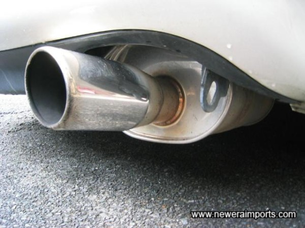 Stainless steel exhaust.