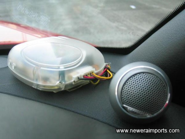 Immobiliser controller. Speakers include remote tweeters.