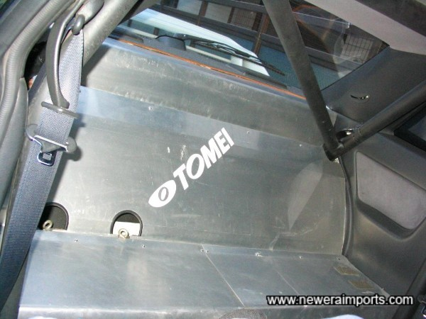 Rear seat space has been tidily lined with alloy sheet.