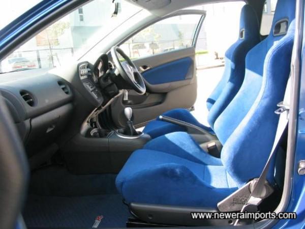 Blue suede front seats.
