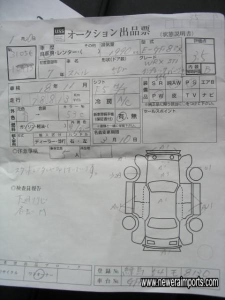 Copy of original auction sheet.