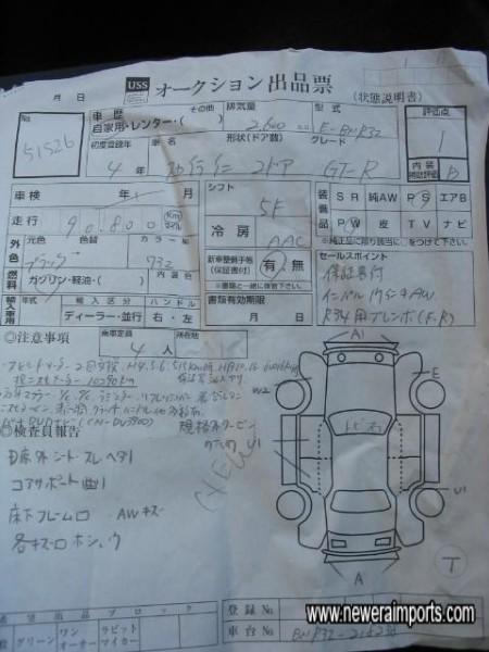 Original Auction sheet shown