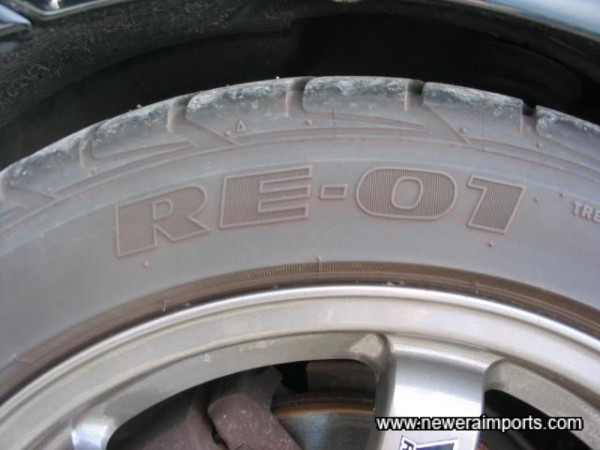 RE-01's - some of the best tyres available for road cars in Japan. Supplied as std. on GT-R's.