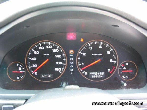 Electroluminescent gauges. Black when ignition is off!