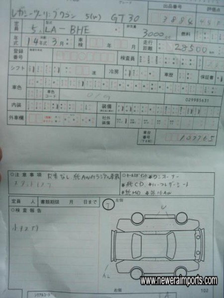 Original Auction Sheet Copy. This is a One owner (In Japan) Car.