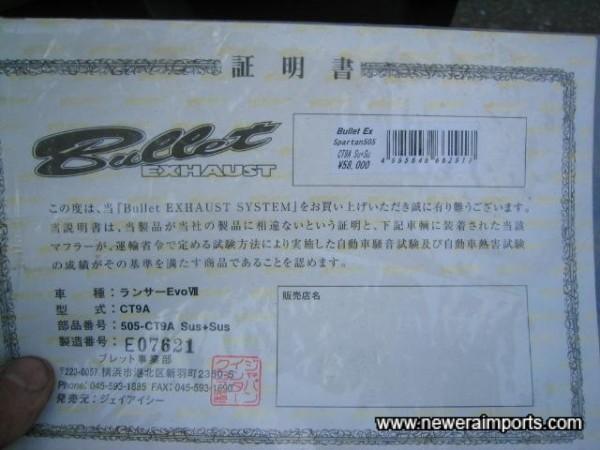 Original Exhaust Certificate.