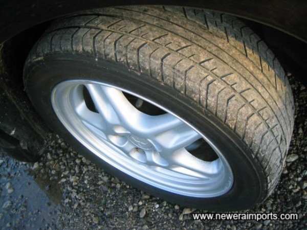 Tyres Perished but not illegal. Can find decent quality wheels with tyres in Japan inexpensively.