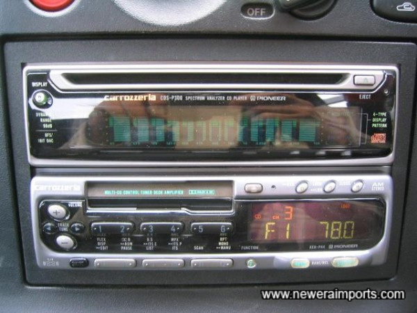 Hifi takes CD & Cassette & has electric automatic antenna for use of radio.