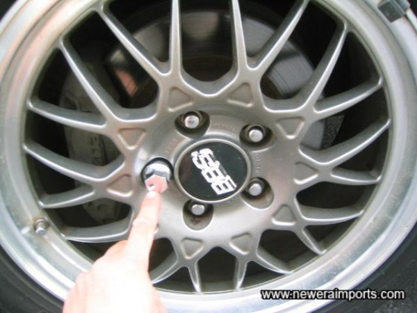 BBS original RZ optional alloys. Note lock is with the tool kit.