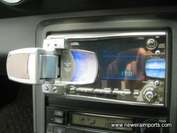 Aux. speaker fold out when power is switched on.