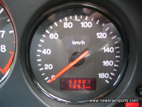 Odometer - before conversion to miles in the UK.