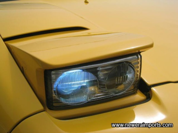 HID headlights. Blue when cold, bright white when warmed after 30 seconds.
