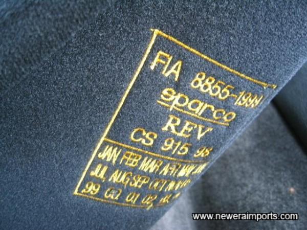 FIA Approval certified.