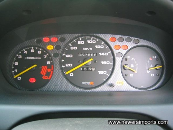 Instruments - showing original mileage. Note that 240 km/h Speedos are available from www.neweraparts.com