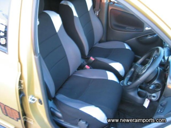 Seat covers are fitted.
