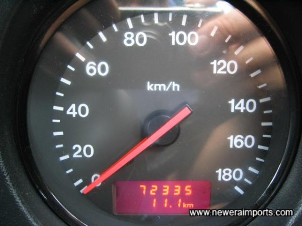 Original odometer reading before recalibration in UK.