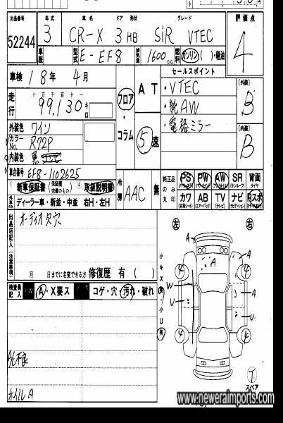 Original Auction Sheet Copy.