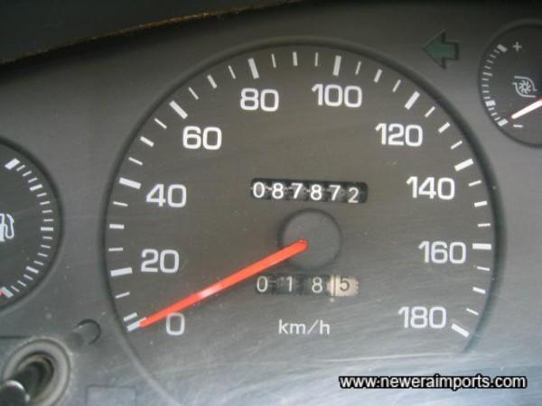Original Odometer reading before recalibration to miles in UK