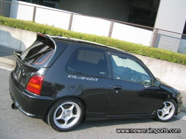 Enkei 15'' forged alloy wheels set this Glanza V Turbo off very well.