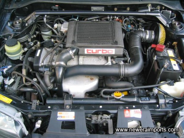 Engine bay is in tidy condition.