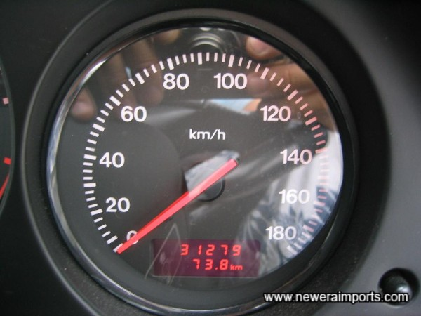 Original Odometer reading prior to recalibration to miles in UK.