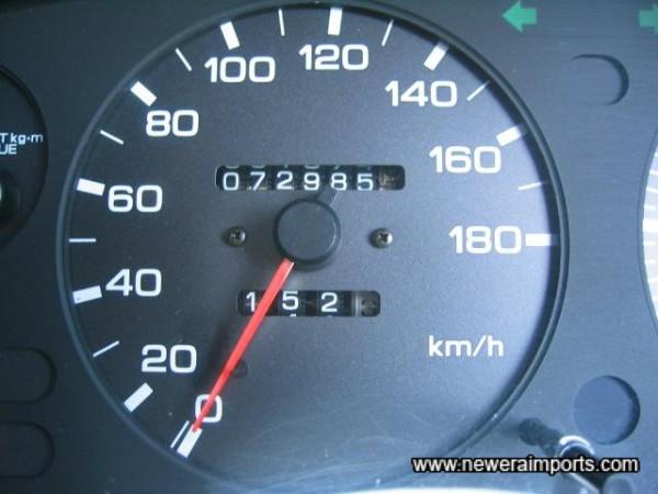 Original odometer reading before recalibration to miles in UK.