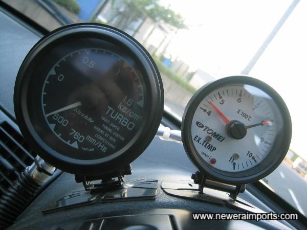 Greddy Boost & Exhaust Temperature gauges.