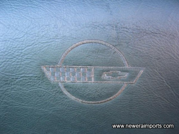 Logo is embossed in each headrest