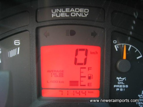 Average fuel consumption low because of a spirited test drive! Odometer & Speedo can be instantly switched to mph.