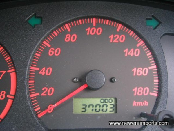 Odometer shows mileage in kms. before conversions to miles in UK.
