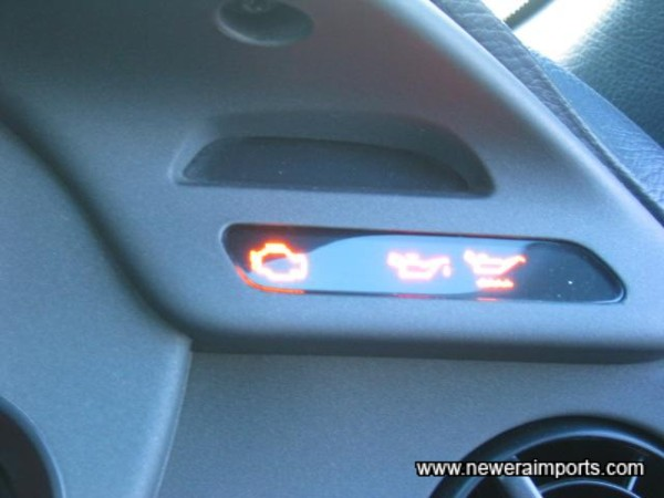 All warning lights present and correct when ignition's on.