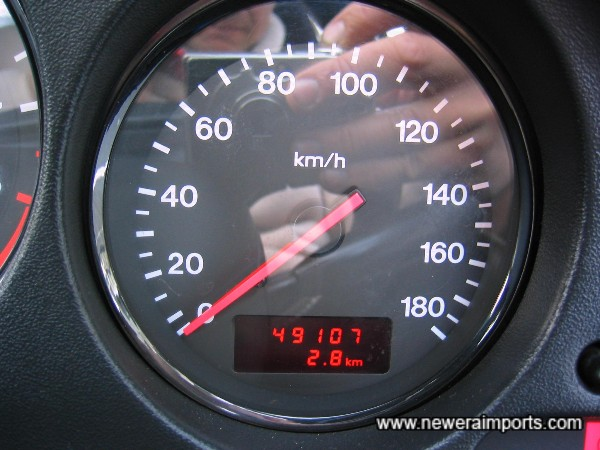 Original odometer - shows mileage before recalibration to miles in the UK