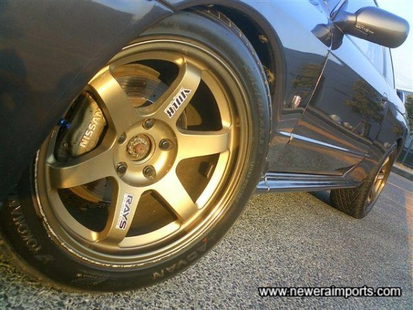 Volk Racing TE37's - some of the most sought after wheels. Note scratches on this wheel only - can be touched in.