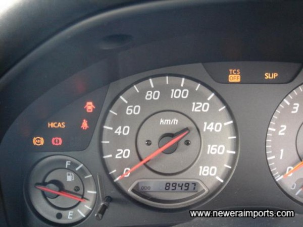 Original odometer shows kms before recalibration to miles in UK