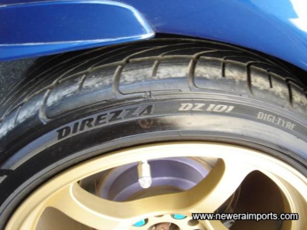Dunlop Direza DZ101 tyres.