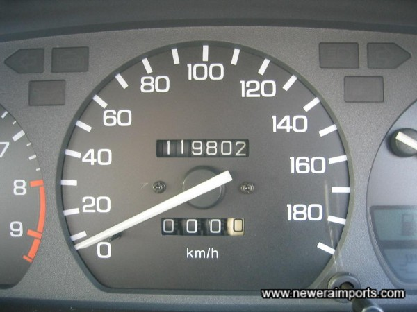 Original odometer shown before recalibration to miles after arrival to UK.