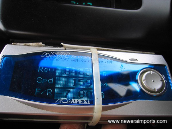 Apexi Rev Speed Meter - Will be more neatly secured.