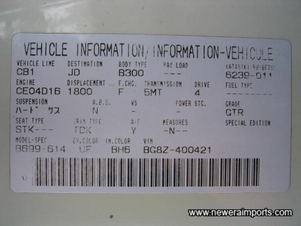 Original Specification tag.