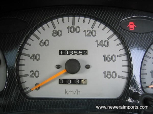 kilometres shown on odometer. To be converted to show miles in UK.