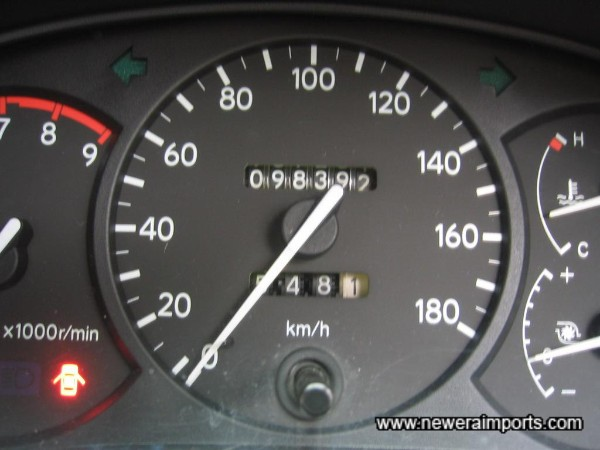 Mileage shows in km. Wil be recalibrated to show total in miles when being converted in UK.