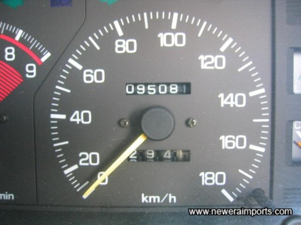Odometer shows kms total - before recalibration to miles in UK