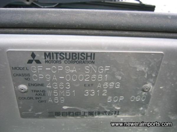 Original Chassis Plate.