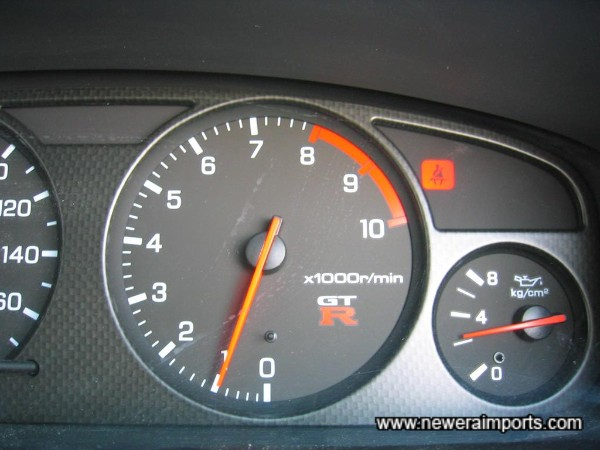 Oil pressure over 2kg/cm2 when fully warmed with ambient temp of 28 Deg C - A sign of a good healthy RB26 engine.