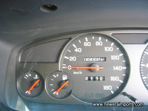 Mileage shown is in Kilometres - before recalibration to miles in UK