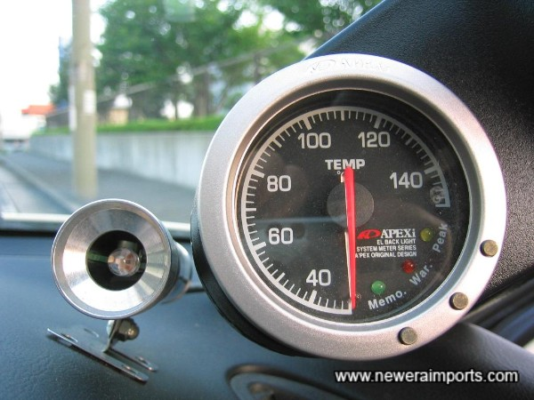 Water temp gauge by Apexi - complete with Pivot shift light system.