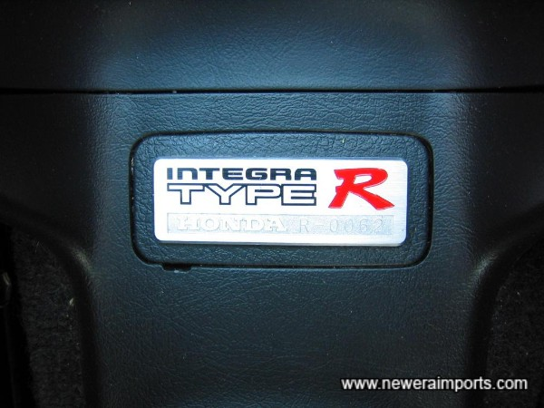 Numbered plaque on centre console, this one is R-0062
