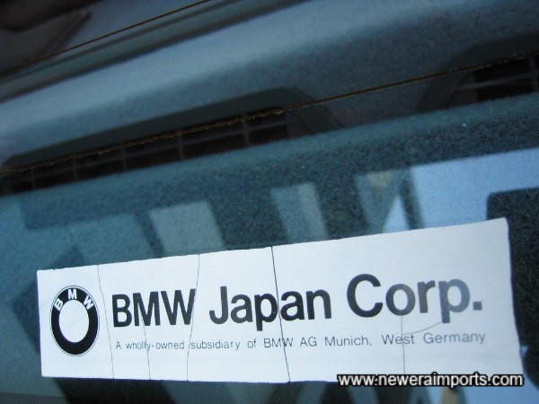 Originally supplied by BMW Japan - This car's never seen salt!