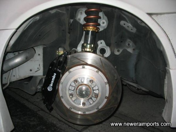 Brembo F50 Brakes and very high quality GAB dyno calibrated coilovers.