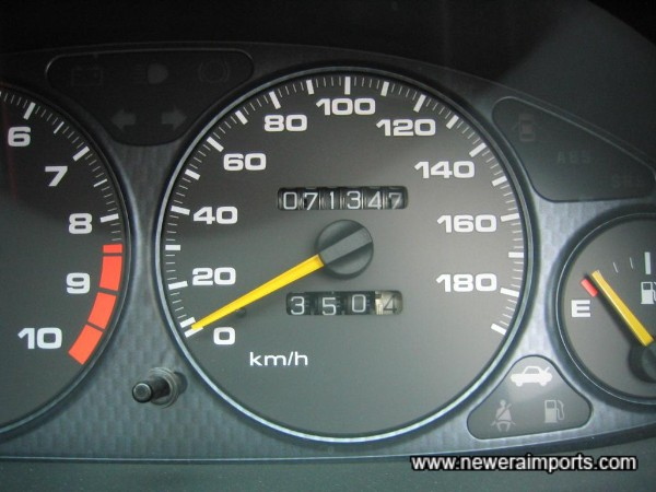 Orignal odometer shows kms before recalibration to miles in UK