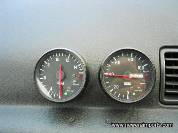 HKS Electronic Gauges showing Oil Temp & Oil Pressure.